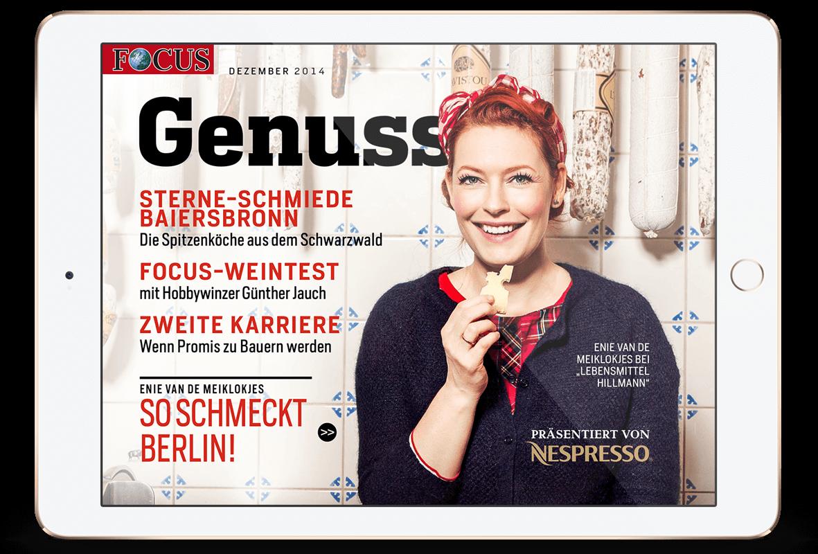 Focus Magazin App Special Ausgabe mit eine van de meiklokjes zum Thema Genuss.